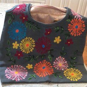 Hand stitched flowers heavy burlap bag Urban Barn